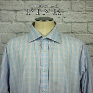 Thomas Pink Button Front Dress Shirt Sz 17.5